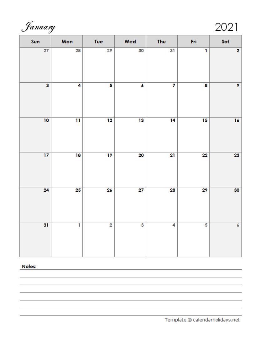 2021 Monthly Template - CalendarHolidays.net