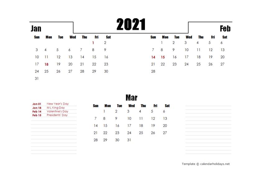 2021 Quarterly Template - CalendarHolidays.net