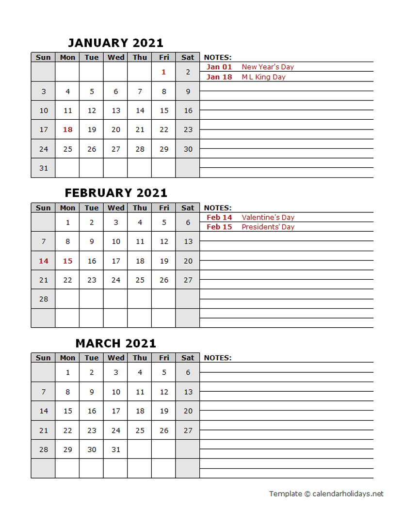 2021 Quarterly Template - CalendarHolidays.net